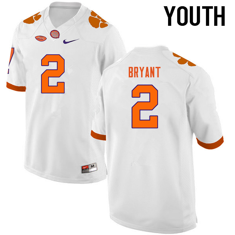 Youth Clemson Tigers #2 Kelly Bryant College Football Jerseys-White